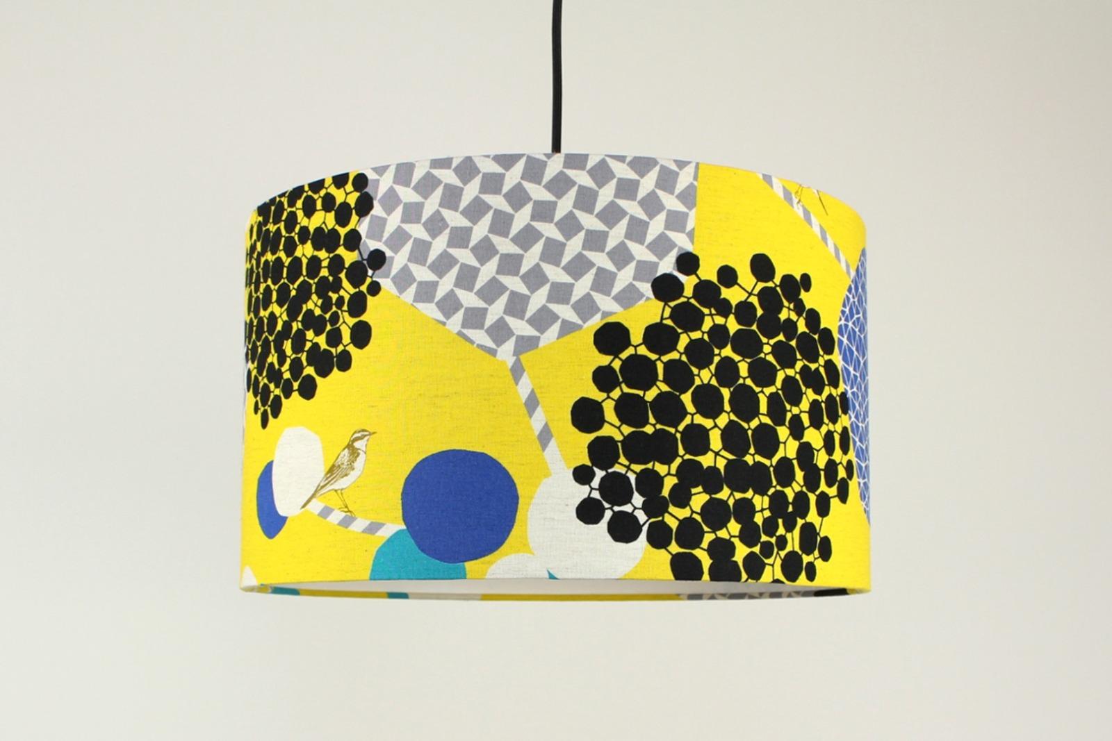 Lampenschirm gelb mit Vogel