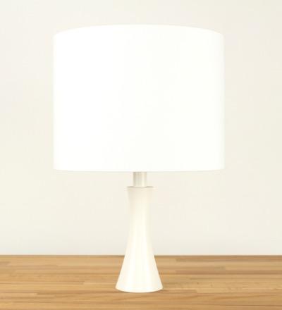 Tischlampe Weiss - Textil / Holz