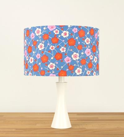 Tischlampe Bunte Kirschblueten - Japanpapier / Holz