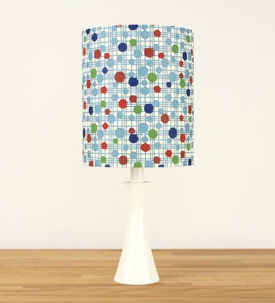 Tischlampe 50er Dots - Japanpapier / Holz