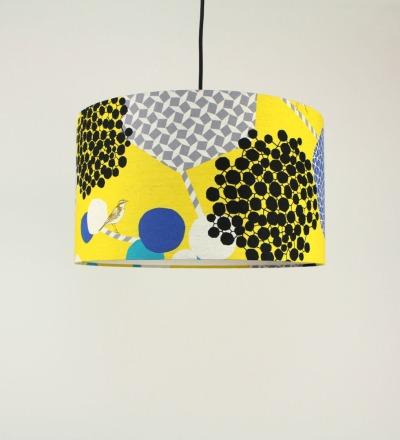 Lampenschirm gelb mit Vogel - Textil 40cmx 23cm UNIKAT