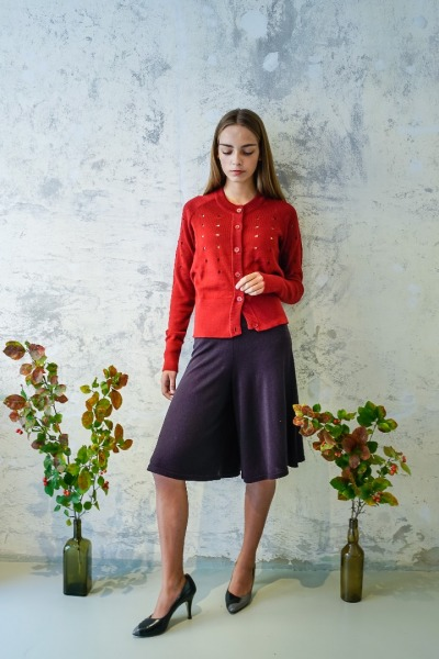 Cardigan MIKKA red rose Feiner Cardigan