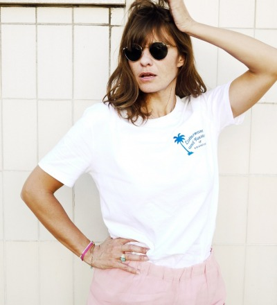 summer palm T-shirt white - L