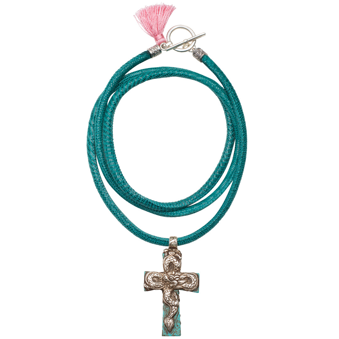Cross Lizard Necklace