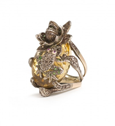 Lotus Ring Diamond Emarald Rubis Citrine