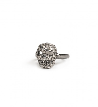 Skull Ring Diamonds and sterling silver