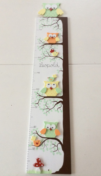 Kinder-Messlatte mit Eulenbaum