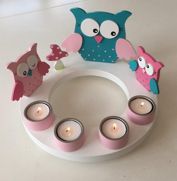Geburtstags-Kerzenkranz mit Eulenfamilie und Geburtstagszahl 3