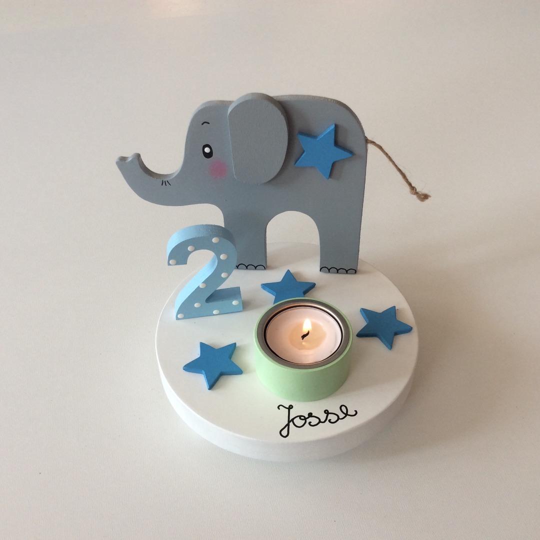 Geburtstags-Kerzenhalter mit Elefant und Geburtstagszahl 2