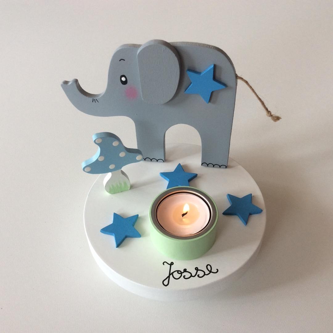 Geburtstags-Kerzenhalter mit Elefant und Geburtstagszahl 3