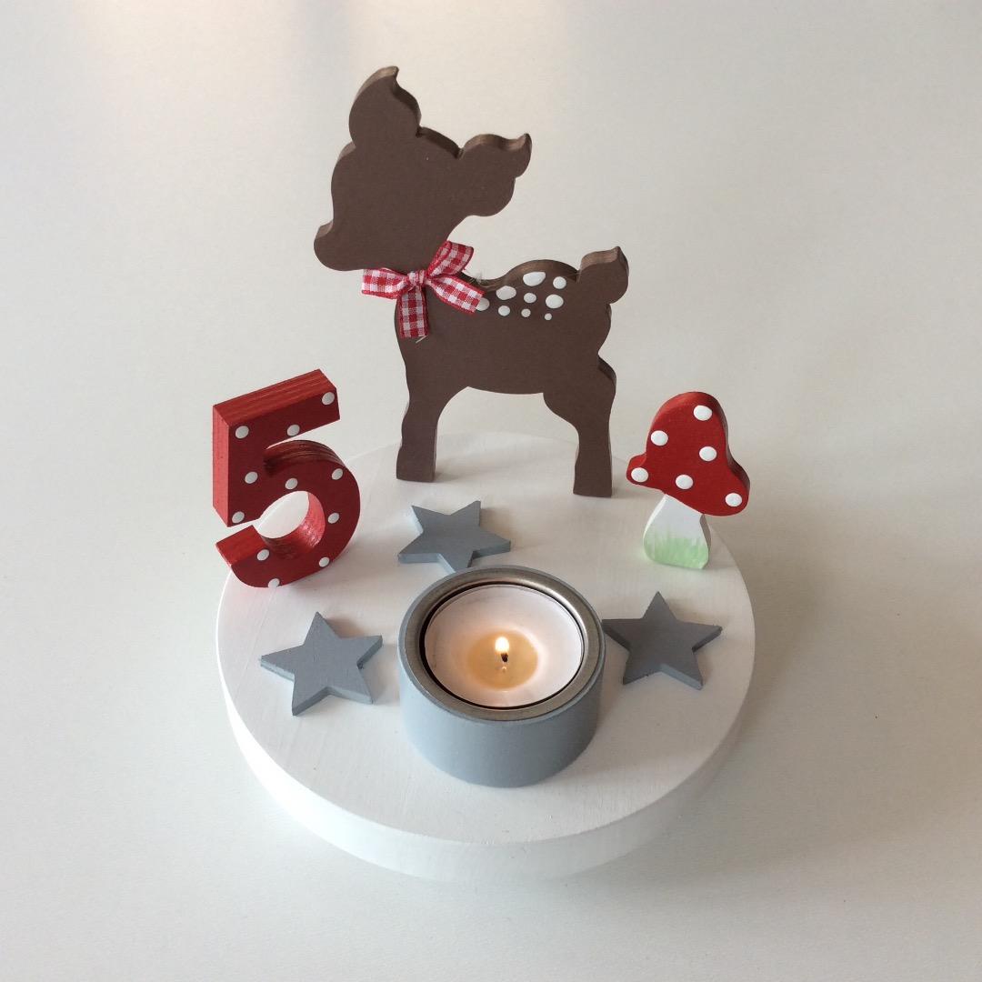 Geburtstags-Kerzenhalter mit Reh und Geburtstagszahl 4