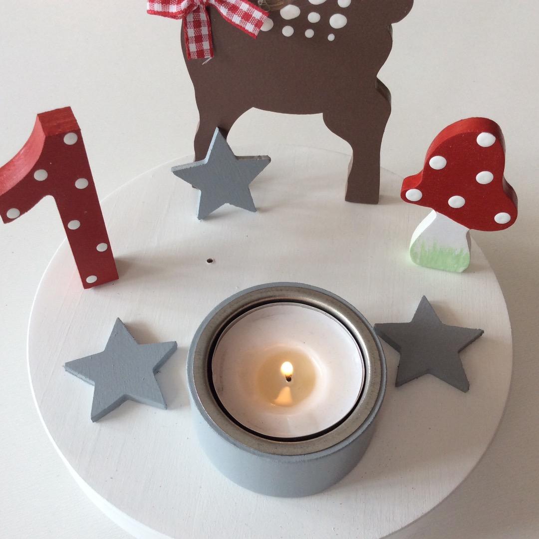 Geburtstags-Kerzenhalter mit Reh und Geburtstagszahl 2