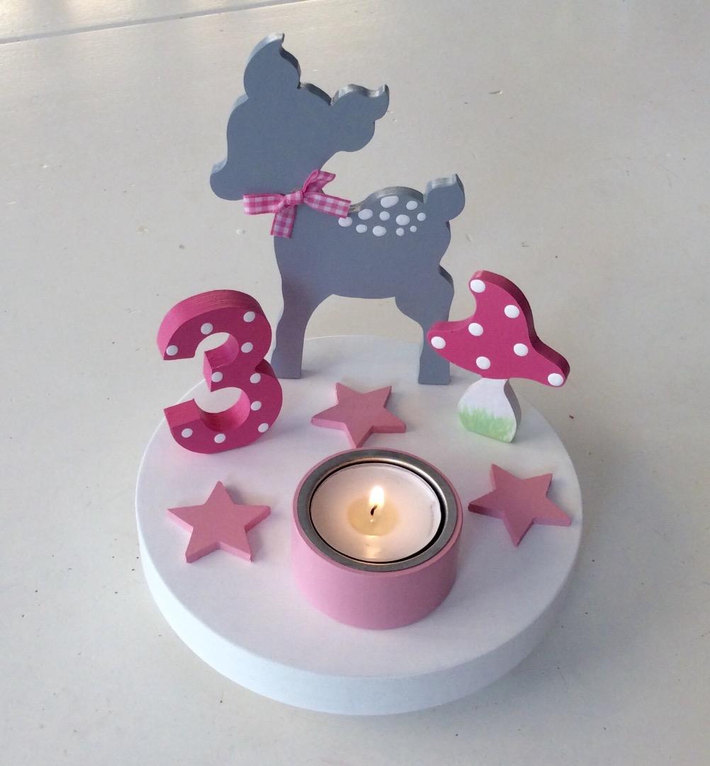 Geburtstags-Kerzenhalter mit Reh und Geburtstagszahl 3