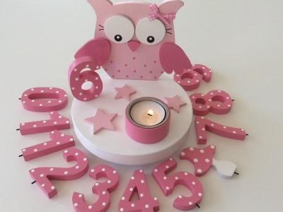 Geburtstags-Kerzenhalter mit Eule und Geburtstagszahl