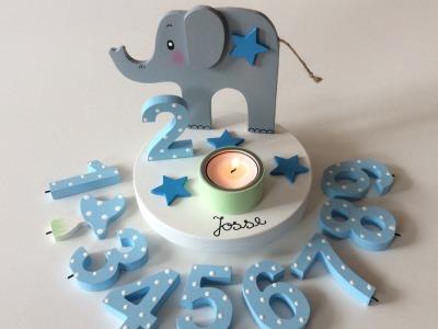Geburtstags-Kerzenhalter mit Elefant und Geburtstagszahl