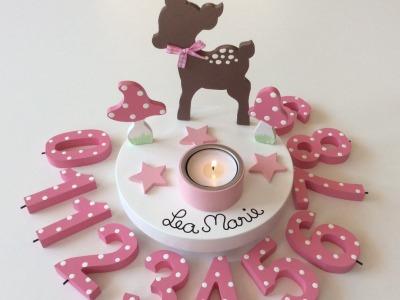 Geburtstags-Kerzenhalter mit Reh und Geburtstagszahl