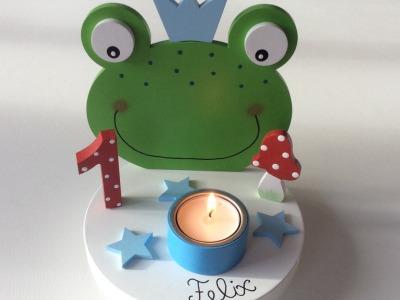Geburtstags-Kerzenhalter mit Frosch und Geburtstagszahl