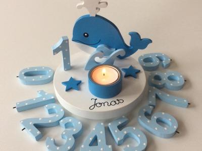 Geburtstags-Kerzenhalter mit Walfisch und Geburtstagszahl