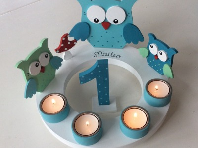 Geburtstags-Kerzenkranz mit Eulenfamilie und Geburtstagszahl auch