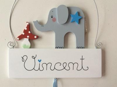 Namensschild für Jungs mit süßem Elefant