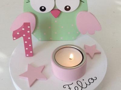 Süßer Kerzenhalter mit Geburtstagszahl und Name