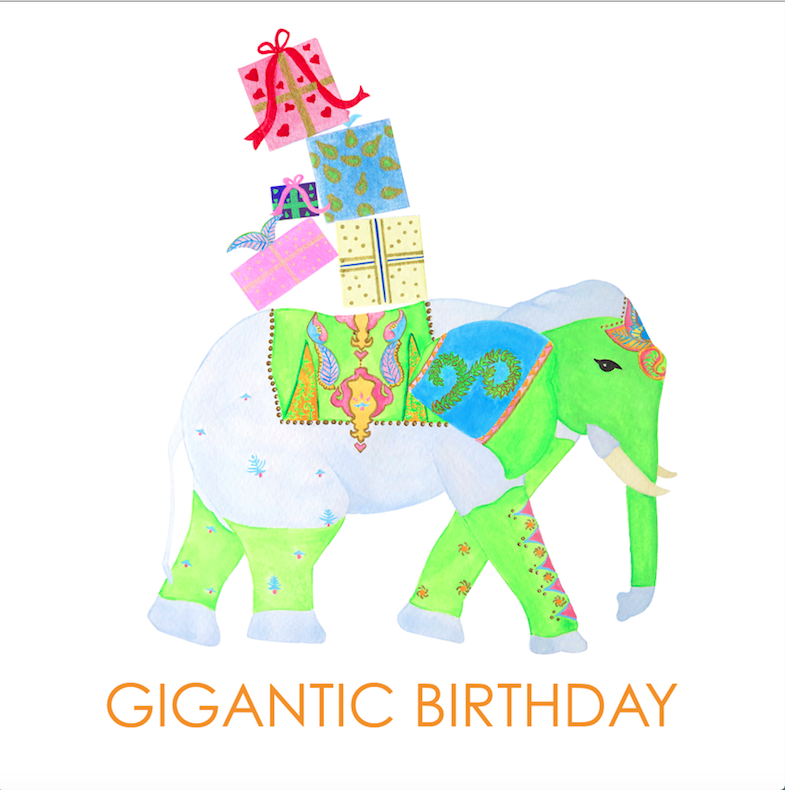 Birthday Elephant Backgifts Card