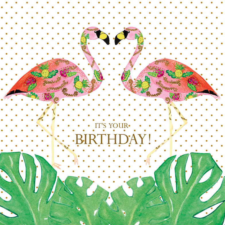 Birthday Flamingle Monstera Card