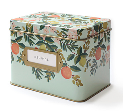 Citrus Floral Tin Recipe Box - 1