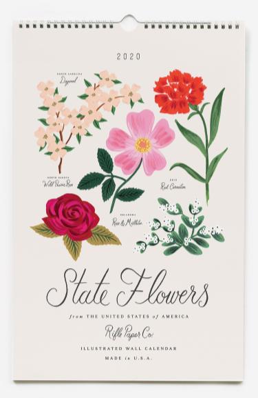 2020 State Flowers Calendar