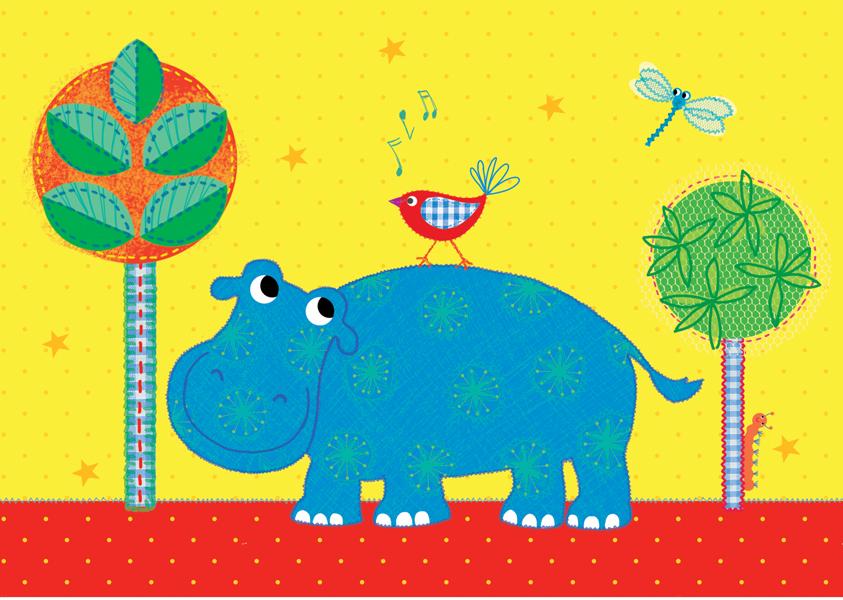 Hippo Bird Postkarte