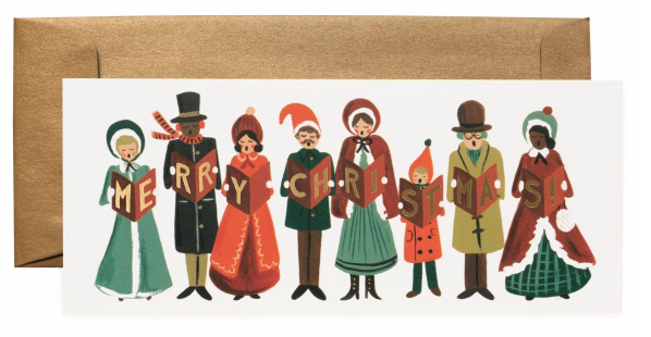 Carolers Christmas Long Card