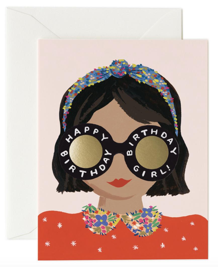 Headband Birthday Girl Card