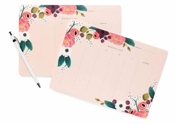 Pink Floral Weekly Deskpad 2