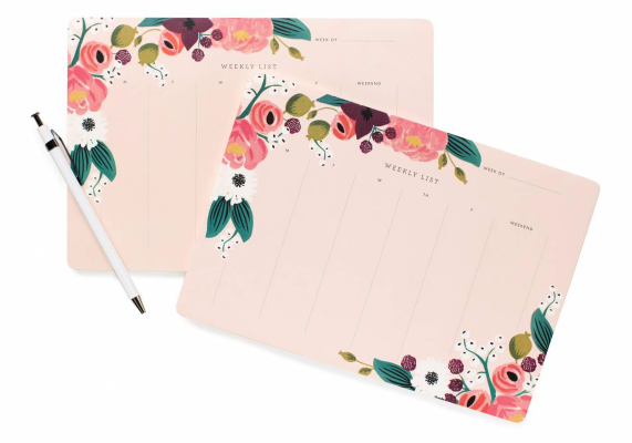 Pink Floral Weekly Deskpad - 2