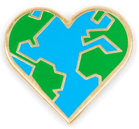 Heart Earth Pin
