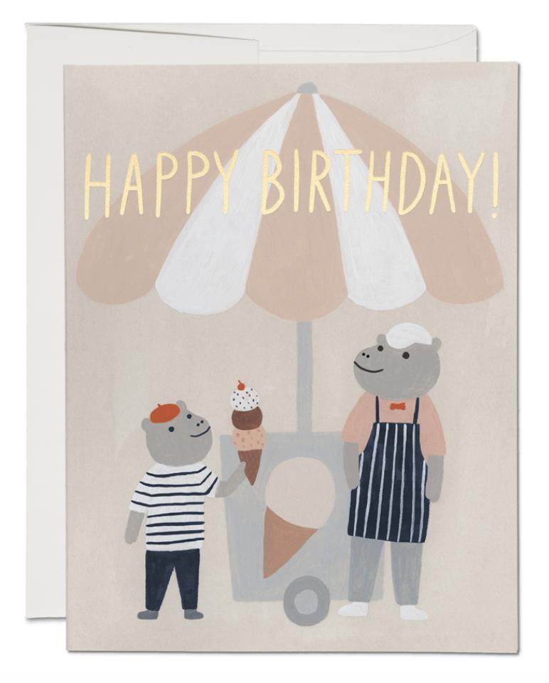 Ice Cream Hippos Card