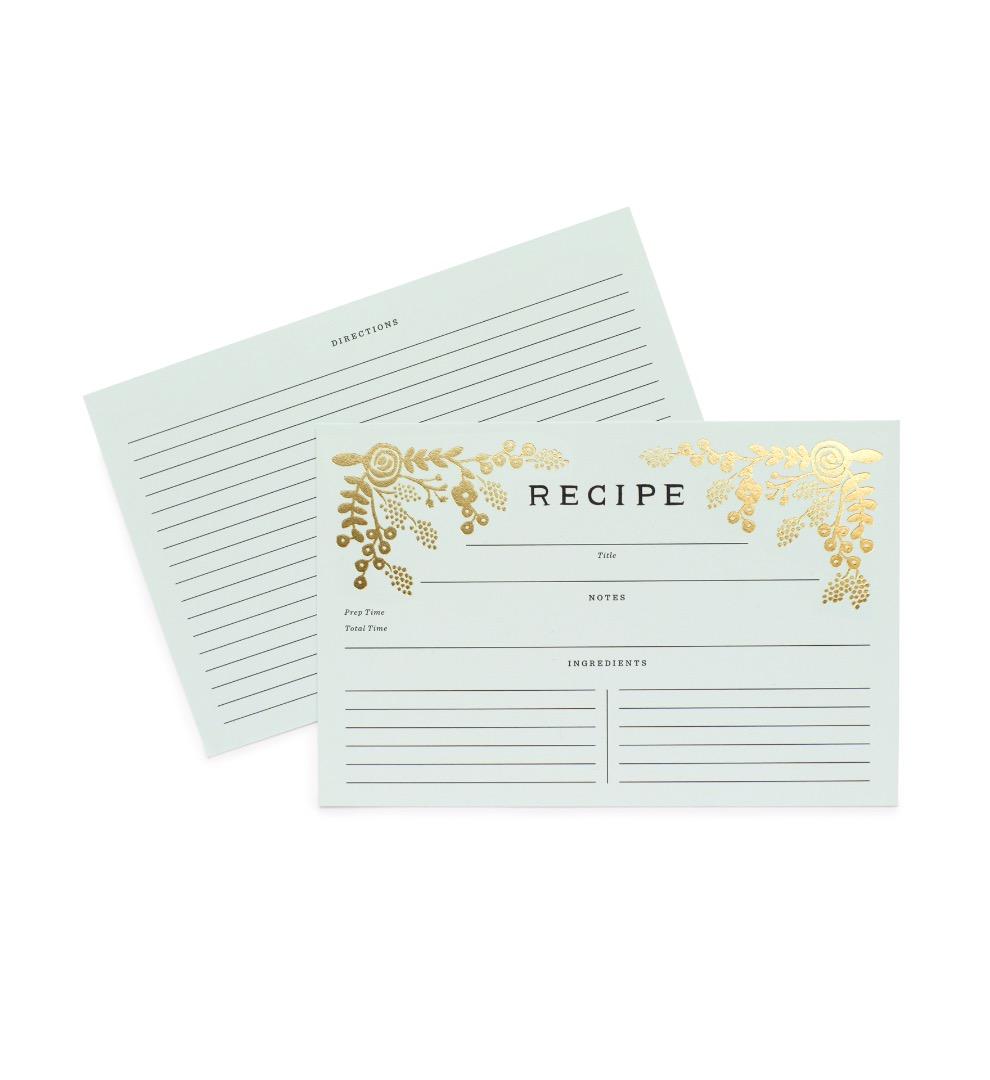 Gold Garden Recipe Cards