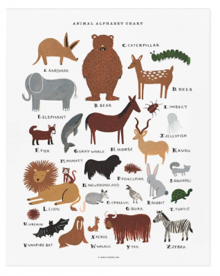 Animal Alphabet Chart - Art Print