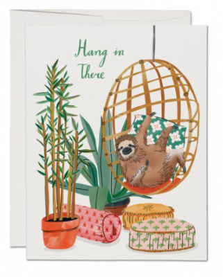Chair Sloth Card Red Cap Cards