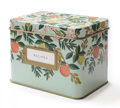 Citrus Floral Tin Recipe Box - Rezeptdose