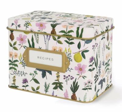 Herb Garden Tin Recipe Box Rezeptdose