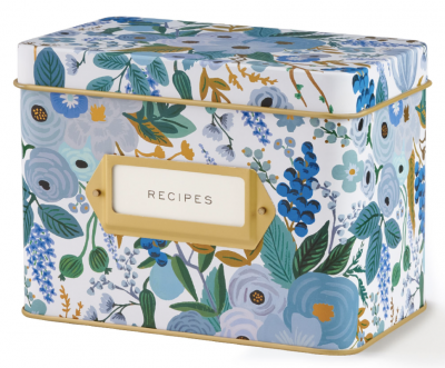 Garden Party Blue Tin Recipe Box