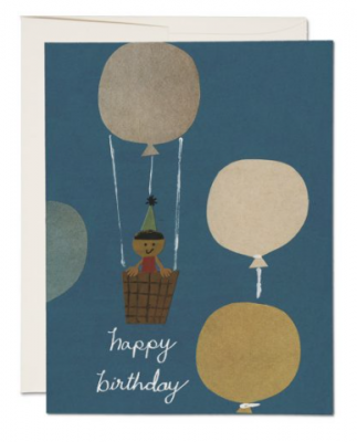 Hot Air Balloon Card Red Cap