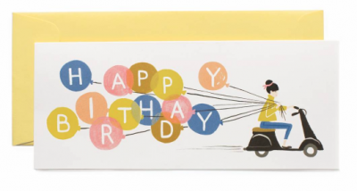 Happy Birthday Scooter Long Card Rifle