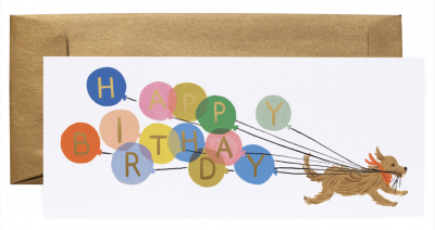 Balloon Birthday Long Card Greeting Card