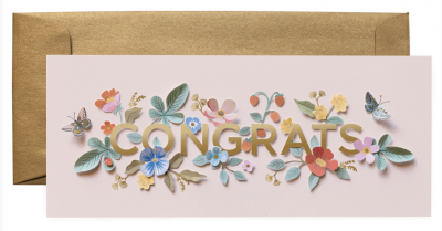 Cut Paper Congrats Long Card Greeting