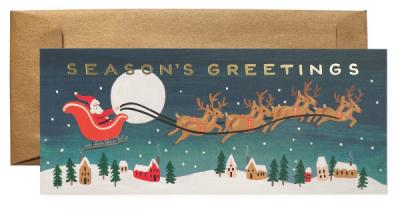 Santa s Sleigh Long Card - Rifle Paper Co.