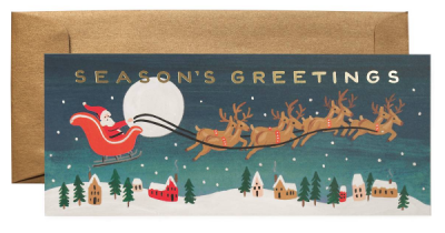Santa s Sleigh Long Card - Rifle Paper Co.