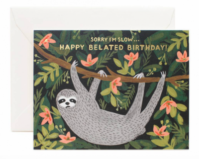 Sloth Related Birthday Card Rifle Paper