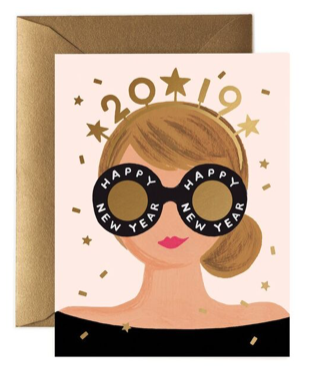 New Years Girl Card - Grusskarte